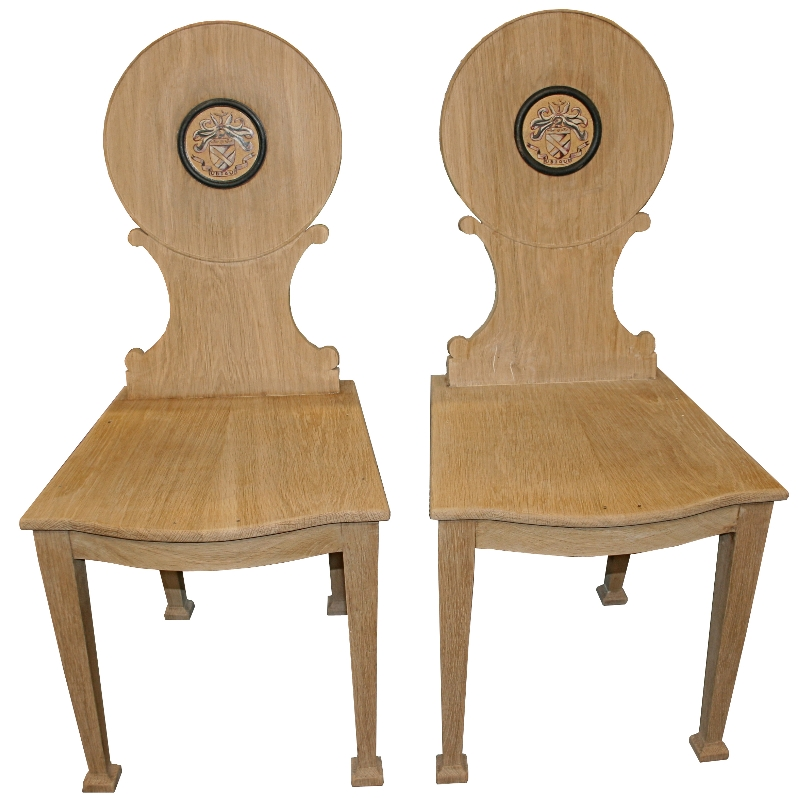 Pr Oak Hall Chairs