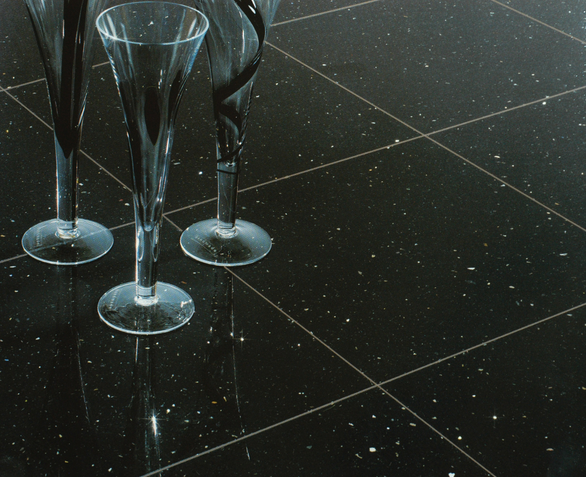 Black gloss sparkle floor tiles