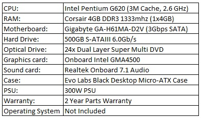 ASC Elite G620 - Home and Business Dual Core PC