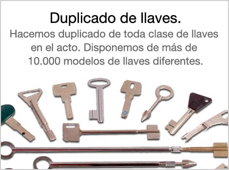 Hacemos duplicado de toda clase de llaves en el acto. Disponemos de más de 10.000 modelos de llaves diferentes.