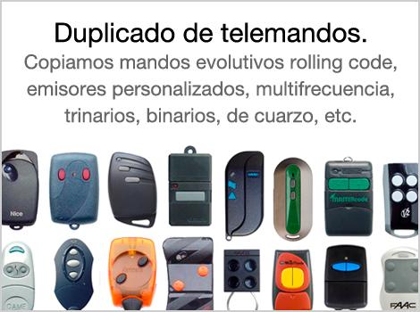 Copiamos mandos evolutivos rolling code, emisores personalizados, multifrecuencia, trinarios, binarios, de cuarzo, etc.