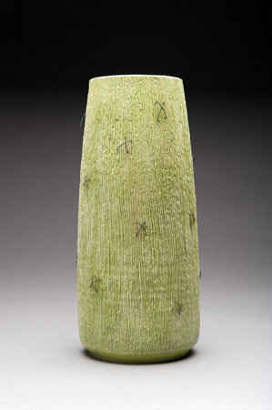 Green porcelain vase by Peggy Loudon
