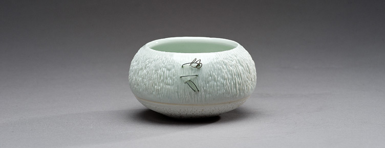 Porcelain bowl with embedded wire by Peggy Loudon