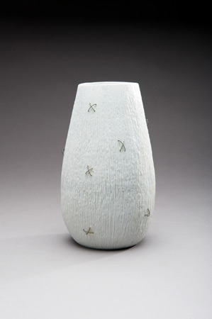 Porcelain vase with embedded wire by Peggy Loudon