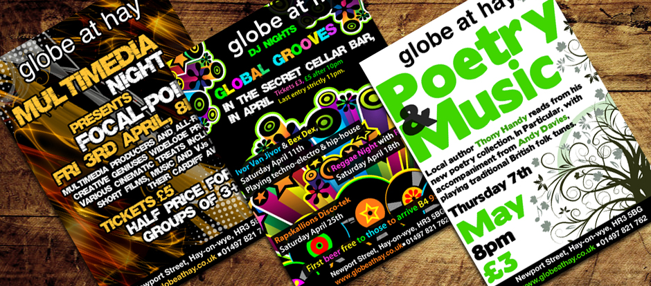 Flyer and Poster Design by Creative Munkey for Globe at Hay based in Hay on Wye in Herefordshire