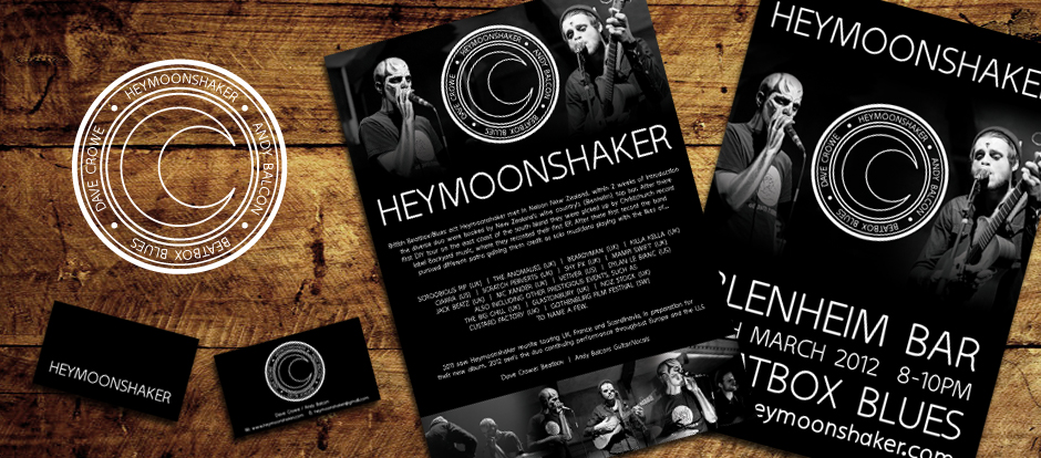 Heymoonshaker branding design including poster, flyer, logo and business card design.