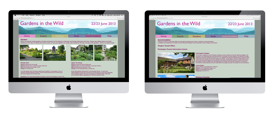 Website and Graphic Design by Creative Munkey for Gardens in the Wild a festival based in Eardisley in Herefordshire