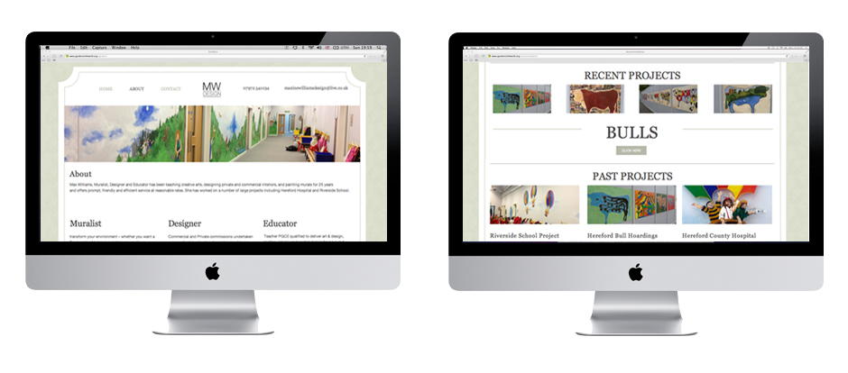 Website Design by Creative Munkey. Maxine Williams Design based in Herefordshire and Gloucestershire. Graphic Design Tewkesbury