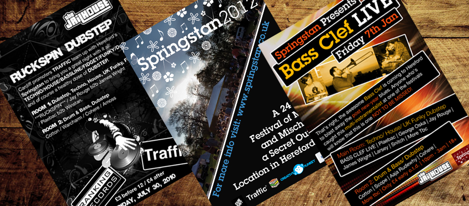 hereford club nights, leaflet design, poster design, graphic design by Creative Munkey