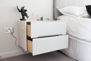 Hand Made High Gloss Floating Bedside Units With Solid Beech Drawers