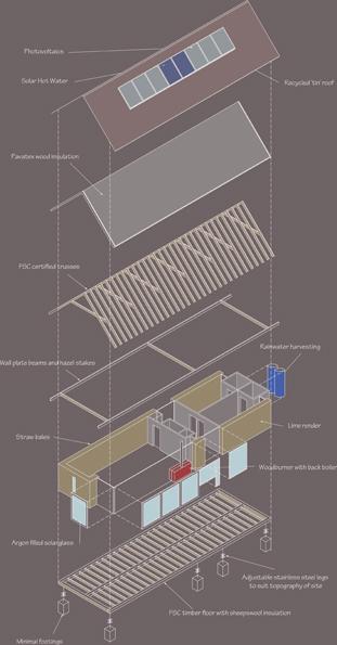 straw bale barn Norfolk isometric